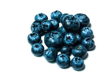 Fresh great bilberries or blueberries isolated on white