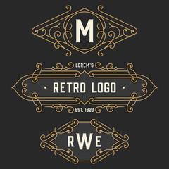 The set of graceful vintage monogram emblem and logo templates. Stylish retro business sign, identity, label for hotel, cafe, boutique, jewelry. Stock vector.