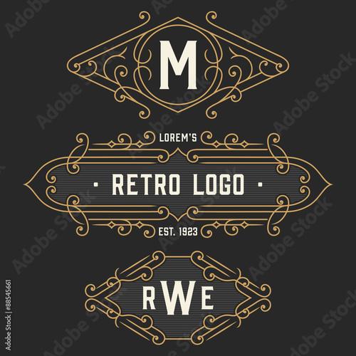 the set of graceful vintage monogram emblem and logo templates