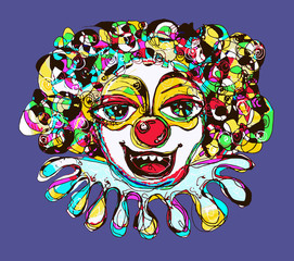 digital coloring drawing of abstract clown