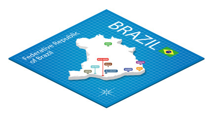 Brazil Isometric Map - 3D Vector Illustration