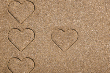 Beach background . heart on sand