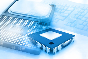 Computer processor with Integrated Circuit.