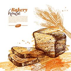 Bakery sketch background. Vintage hand drawn vector illustration