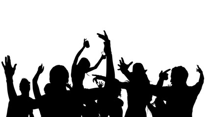 Dancing Crowd Silhouette - Black Illustration, Vector