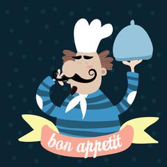 Bon appetit.Cute Chef .Retro style vector illustration