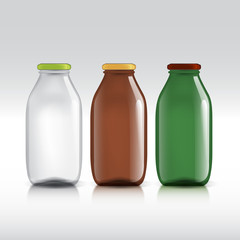 Realistic bottles of glass. package for milk, juice