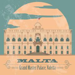 Malta landmarks. Retro styled image