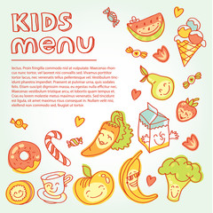 Child and baby food, kids menu with colorful smiling fruits, vegetables, sweets, cookies