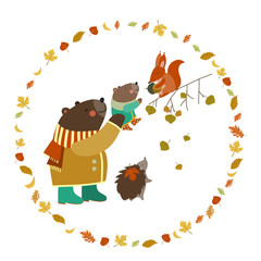 Bear, bear cub, squirrel and hedgehog walking in the autumn