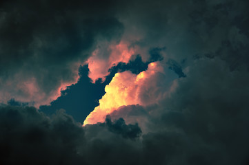 Fototapeta cloudscape at sunset with red cloud