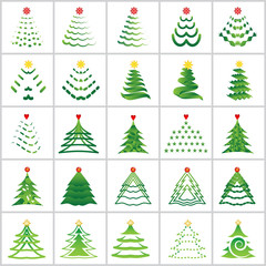 Christmas Tree Icons Set - Isolated On White Background - Vector Illustration, Graphic Design Editable For Your Design