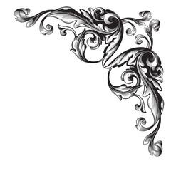 Page decoration. Decorative floral elements, corners, borders, frame, crown.