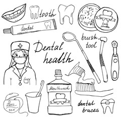 Dental health doodles icons set. Hand drawn sketch with teeth, toothpaste toothbrush dentist mouth wash and floss. vector illustration isolated