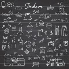 Fashion collection Sketchy Doodles set with Lettering, Hand-Drawn Vector Illustration Design Elements on Lined Sketchbook on chalkboard background