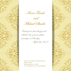 Vector invitation with thai ornament for wedding day.