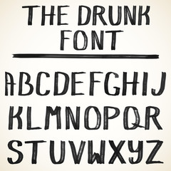 Vector alphabet.Uppercase Hand drawn grunge letters of the alphabet written with a black color brush