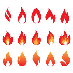 vector set of fire flames