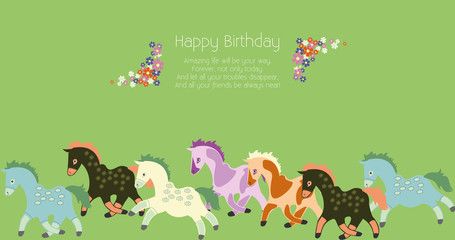 colorful cards, invitations for birthday with flowers and horse