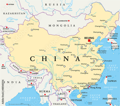 China political map with capital Beijing, national borders ... on