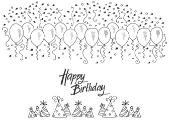 Hand drawn party background with balloons, confetti and party hats, hand writen lettering text happy birthday, isolated on white