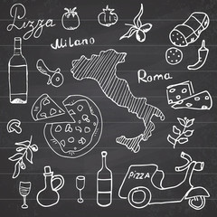 Italy doodles elements. Hand drawn set with pizza scooter, wine, cheese and map. Drawing doodle collection, on chalkboard background