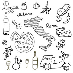 Italy doodles elements. Hand drawn set with pizza scooter, wine, cheese and map. Drawing doodle collection,  isolated on white background