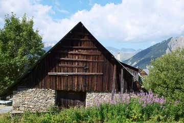 Ramshackle ruin barn in the french alps