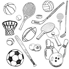 Sport balls Hand drawn sketch set with baseball, bowling, tennis football, golf balls and other sports items. Drawing doodles elements. collection, isolated on white background