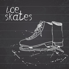 Hand drawn sketch ice skates. Drawing Sport doodle element winter sports items. on chalkboard background