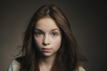 young beautiful girl studio portrait