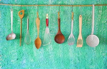 hanging vintage kitchen utensils, cooking concept,copy space