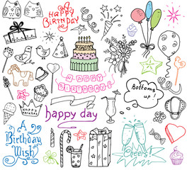 Birthday elements. Hand drawn set with birthday cake, balloons, gift and festive attributes. Children drawing doodle collection, isolated on white background