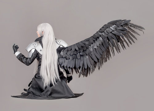 Fantasy woman warrior / Woman warrior with wings and armor isolated on the gray background