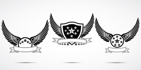 Wing abstract emblem set, logo template, badge label, icon, tattoo design