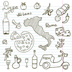 Italy doodles elements. Hand drawn set with pizza scooter, wine, cheese and map. Drawing doodle collection, on paper background
