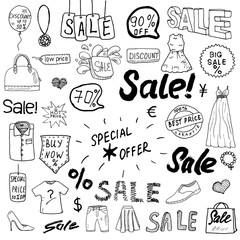 Sale signs and price discount tags, shopping associated symbols. Hand-Drawn set of design elements with hand written Lettering. Vector Illustration Sketchy Doodles isolated on white background
