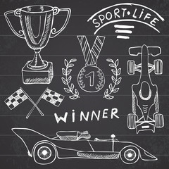 Sport auto items doodles elements. Hand drawn set with Flag icon. Checkered or racing flags first place prize cup. medal and rasing car, race vector illustration. Drawing doodle collection isolated