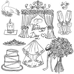 Wedding day elements. Hand drawn set with flowers, candle, glasses for champaign and festive attributes. Drawing doodle collection, isolated on white background