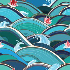 seamless pattern with water waves and lilies