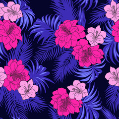 Seamless exotic pattern with tropical leaves and flowers. Blooming jungle. Neon colors.