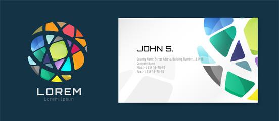 Vector globe logo business card template. Abstract arrow design