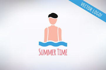 Swim sport logo icon template. Pool, swimmer, man symbol or