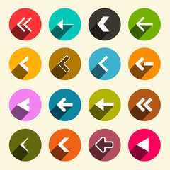 Colorful Flat Design Simple Vector Arrows Set in Circles