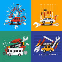 Flat design concept car services illustrate. Vector set.