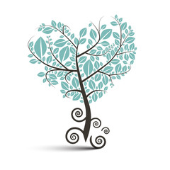 Heart Shaped Tree with Curled Roots Vector Illustration Isolated on White