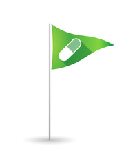 Golf flag with a pill
