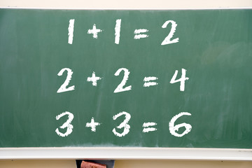 one plus one / Chalk board with a math problem