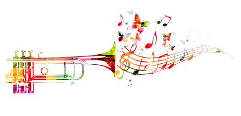 Colorful trumpet design with butterflies