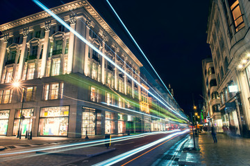 Night life and movement in the city of London.